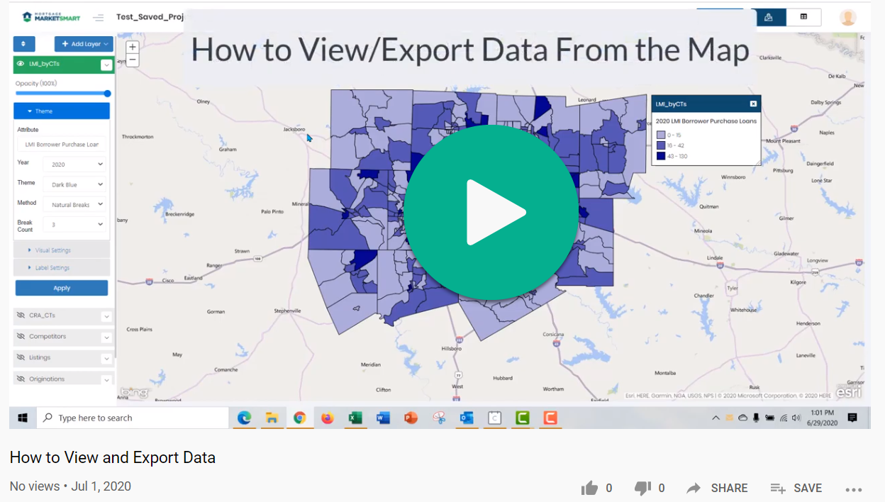 Mortgage MarketSmart: How to Export Data